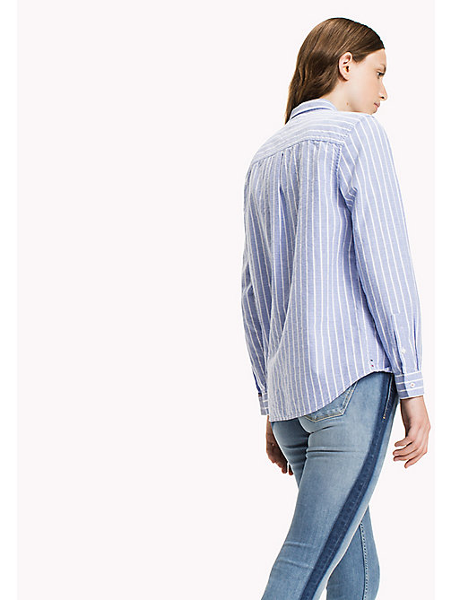 TOMMY JEANS Cotton Dobby Boyfriend Shirt - SERENITY / BRIGHT WHITE - TOMMY JEANS Tops - detail image 1