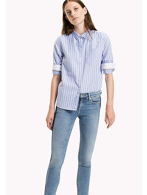 TOMMY JEANS Cotton Dobby Boyfriend Shirt - SERENITY / BRIGHT WHITE - TOMMY JEANS Women - main image