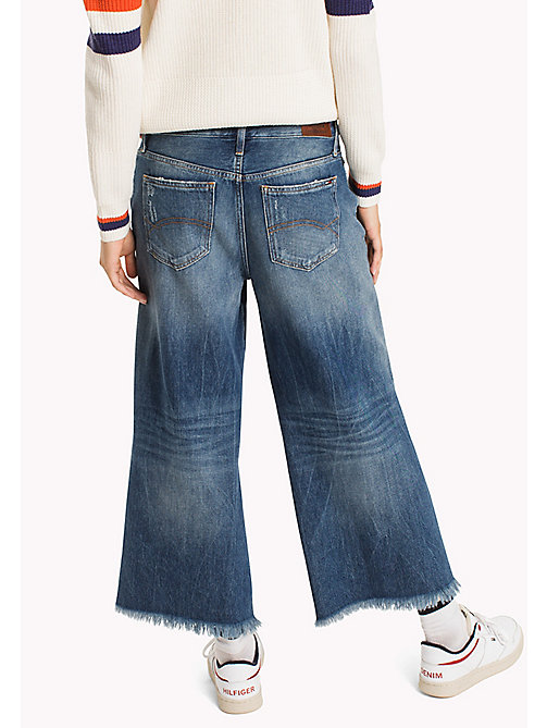 TOMMY JEANS Denim Flared Culottes - STREET MID BLUE DESTRUCTED - TOMMY JEANS Clothing - detail image 1