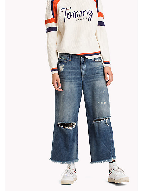 TOMMY JEANS Denim Flared Culottes - STREET MID BLUE DESTRUCTED - TOMMY JEANS Clothing - main image