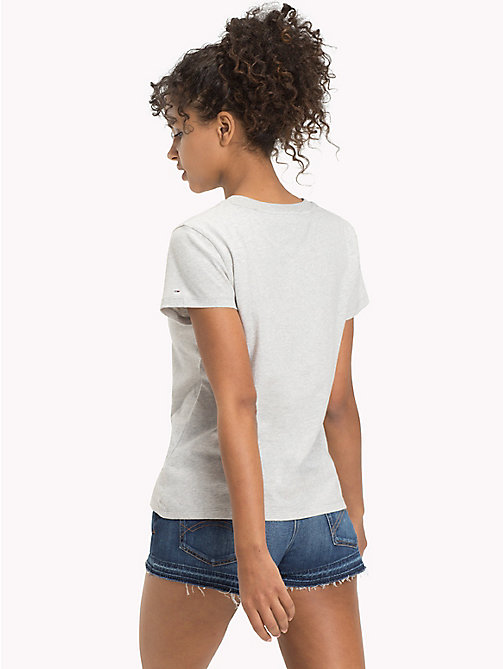 TOMMY JEANS Cotton Badge T-Shirt - LIGHT GREY HTR - TOMMY JEANS FEMMES - image détaillée 1