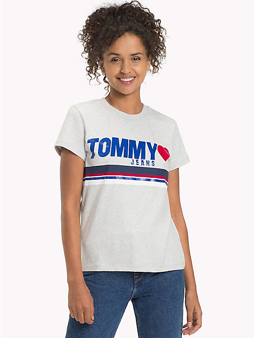 TOMMY JEANS Cotton Jersey Logo T-Shirt - LIGHT GREY HTR - TOMMY JEANS FEMMES - image principale