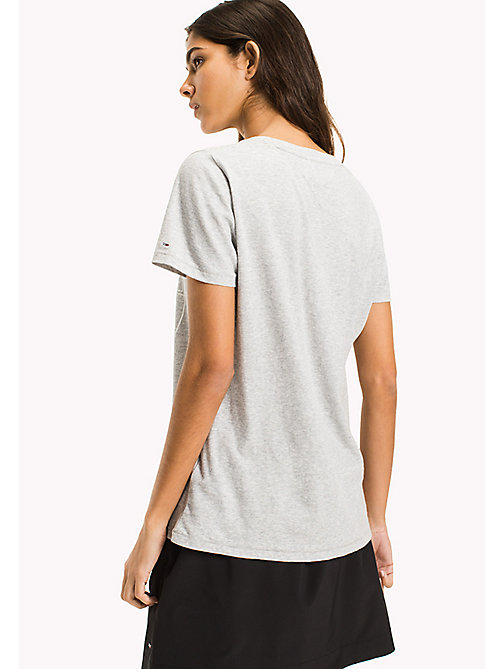 TOMMY JEANS Pure Cotton Logo T-Shirt - LIGHT GREY HTR - TOMMY JEANS WOMEN - detail image 1