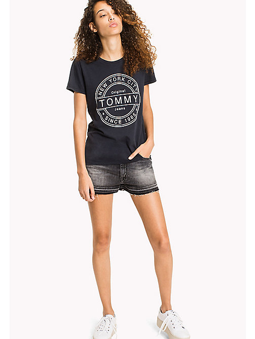 TOMMY JEANS Pure Cotton Logo T-Shirt - BLACK IRIS - TOMMY JEANS WOMEN - main image