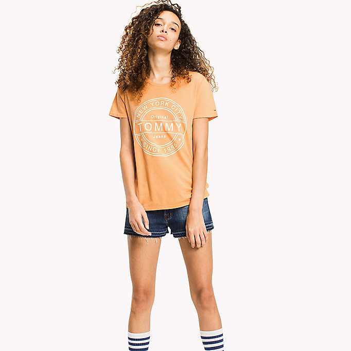 TOMMY JEANS Pure Cotton Logo T-Shirt - SPICED CORAL - TOMMY JEANS Clothing - main image