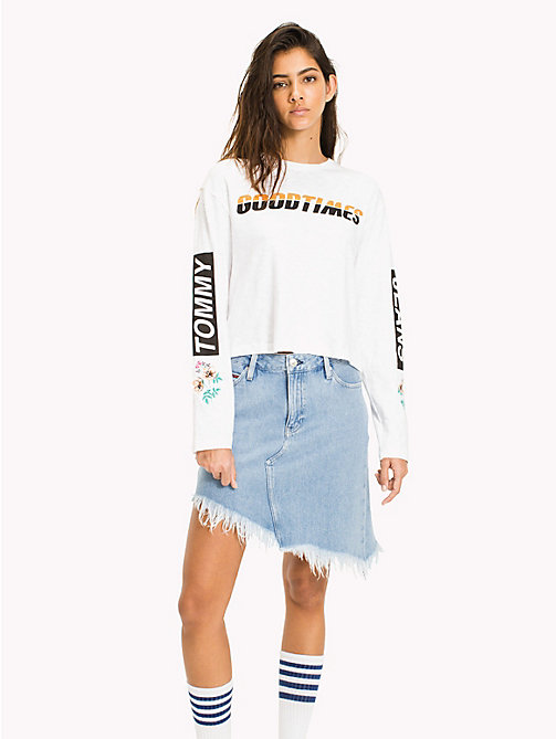 TOMMY JEANS Floral Racing Logo T-Shirt - BRIGHT WHITE - TOMMY JEANS WOMEN - main image