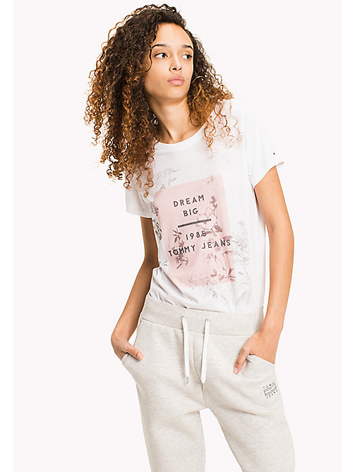 TOMMY JEANS Floral Photo Print T-Shirt - BRIGHT WHITE -  WOMEN - main image