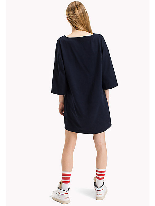 TOMMY JEANS Cotton Jersey A-Line Dress - NAVY BLAZER - TOMMY JEANS Dresses & Jumpsuits - detail image 1