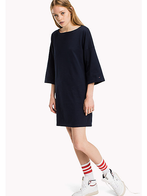 TOMMY JEANS Cotton Jersey A-Line Dress - NAVY BLAZER - TOMMY JEANS Dresses & Jumpsuits - main image