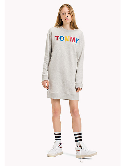 TOMMY JEANS Fleece boyfriend fit jurk - LT GREY HTR - TOMMY JEANS Jurken & Jumpsuits - main image