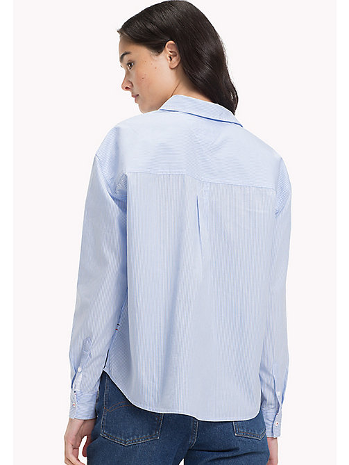 TOMMY JEANS Pure Poplin Regular Shirt - SERENITY / BRIGHT WHITE - TOMMY JEANS WOMEN - detail image 1