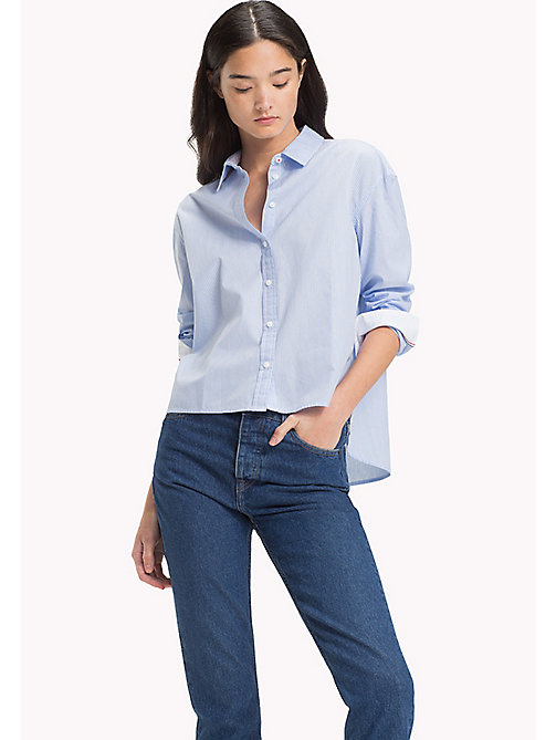 TOMMY JEANS Pure Poplin Regular Shirt - SERENITY / BRIGHT WHITE - TOMMY JEANS WOMEN - main image