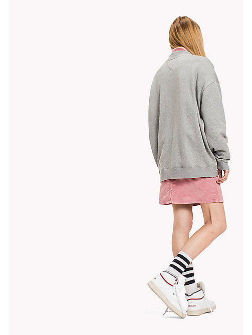 TOMMY JEANS Felpa in cotone oversize - LT GREY HTR - TOMMY JEANS Felpe - dettaglio immagine 1