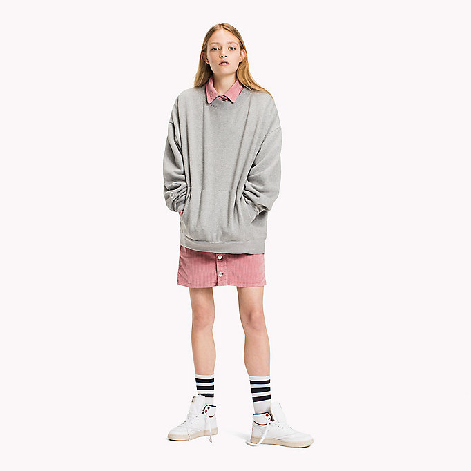 TOMMY JEANS Oversized Cotton Sweatshirt - AQUA FOAM - TOMMY JEANS Clothing - main image