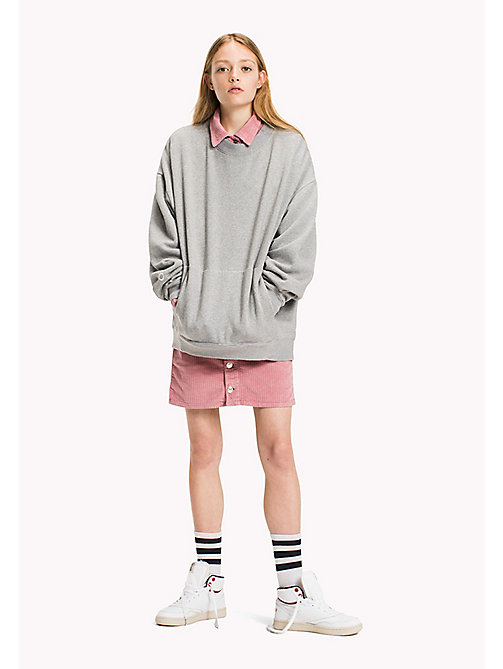 TOMMY JEANS Felpa in cotone oversize - LT GREY HTR - TOMMY JEANS Felpe - immagine principale