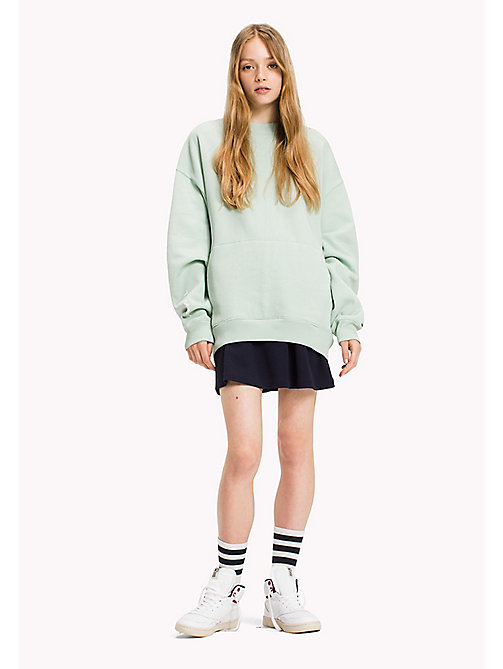 TOMMY JEANS Oversized Cotton Sweatshirt - AQUA FOAM - TOMMY JEANS Sweatshirts & Hoodies - main image
