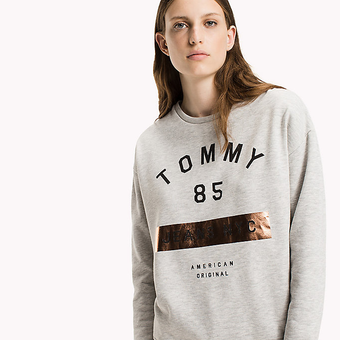 TOMMY JEANS Fleece Logo Sweatshirt - BRIGHT WHITE - TOMMY JEANS Clothing - main image