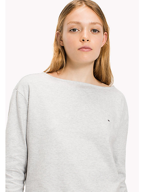 TOMMY JEANS Cotton Jersey Fitted T-Shirt - LT GREY HTR - TOMMY JEANS Tops - main image