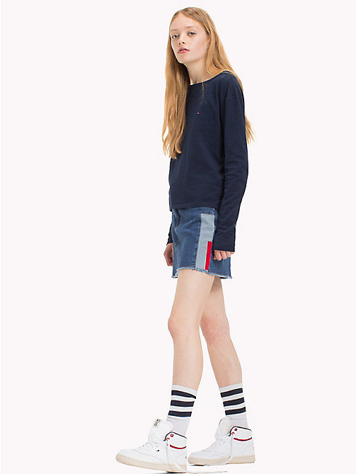 TOMMY JEANS Cotton Jersey Fitted T-Shirt - NAVY BLAZER - TOMMY JEANS Tops - main image