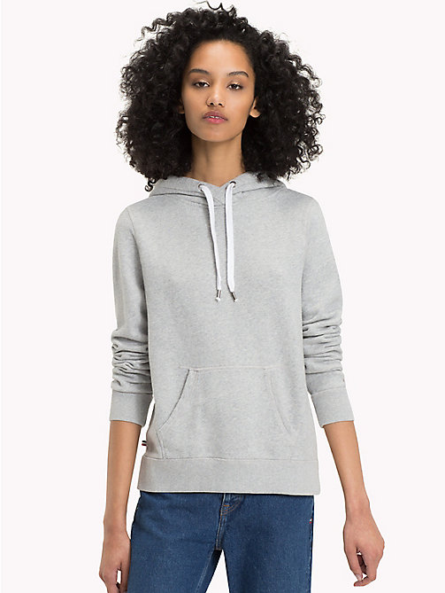TOMMY JEANS Terry drawstring Hoodie - LT GREY HTR - TOMMY JEANS Clothing - main image
