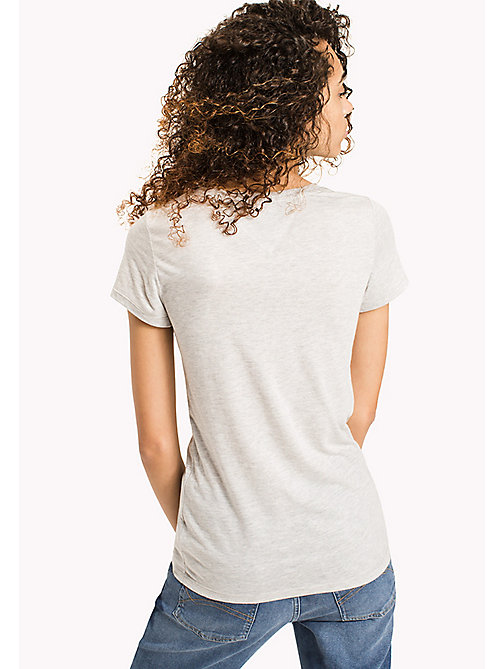 TOMMY JEANS Fitted Logo T-Shirt - LIGHT GREY HTR - TOMMY JEANS FEMMES - image détaillée 1