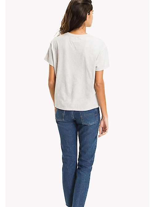 TOMMY JEANS Embroidered Cotton T-Shirt - LIGHT GREY HTR - TOMMY JEANS MUJERES - imagen detallada 1