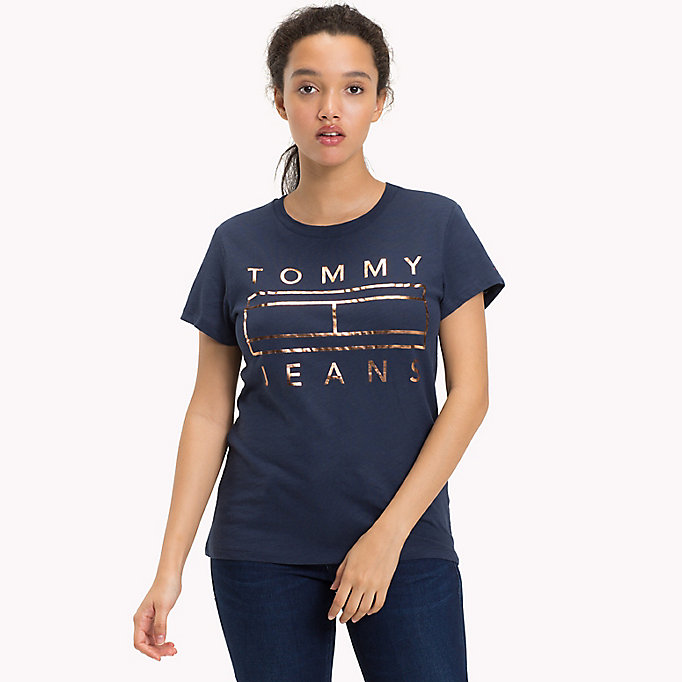TOMMY JEANS Cotton Slub Logo T-Shirt - BRIGHT WHITE - TOMMY JEANS Women - main image