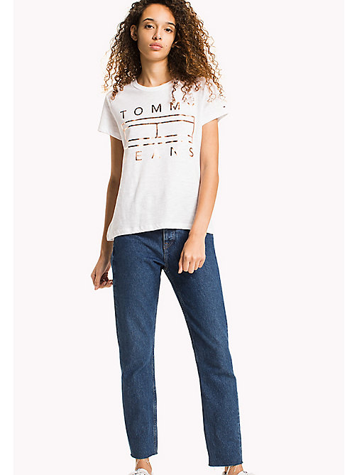 TOMMY JEANS Cotton Slub Logo T-Shirt - BRIGHT WHITE -  WOMEN - main image