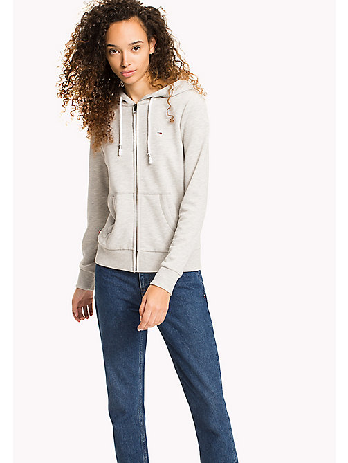 TOMMY JEANS Zip Hoodie - LIGHT GREY HTR - TOMMY JEANS WOMEN - main image