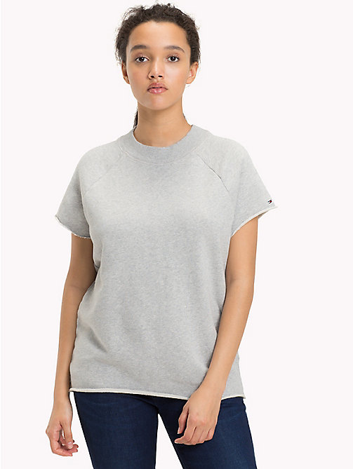 TOMMY JEANS Short Sleeved Raglan Sweatshirt - LIGHT GREY HTR - TOMMY JEANS Sweatshirts & Hoodies - main image