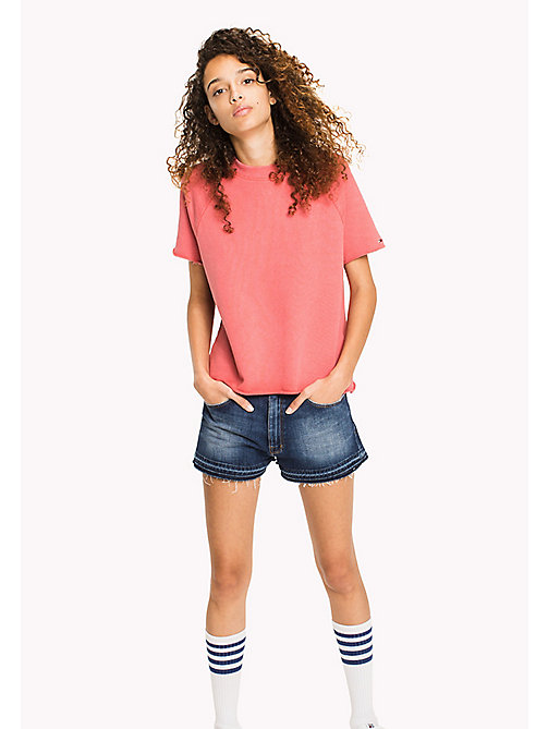 TOMMY JEANS Short Sleeved Raglan Jumper - SPICED CORAL - TOMMY JEANS WOMEN - main image