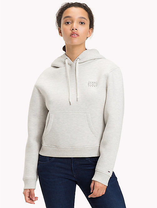 TOMMY JEANS Cotton Blend Logo Hoodie - LIGHT GREY HTR - TOMMY JEANS WOMEN - main image