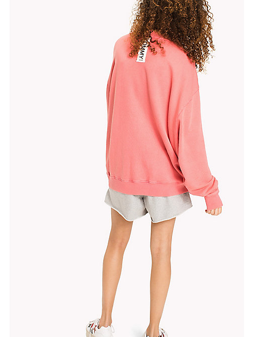 TOMMY JEANS Oversized Cotton Sweatshirt - SPICED CORAL - TOMMY JEANS Sweatshirts & Hoodies - detail image 1