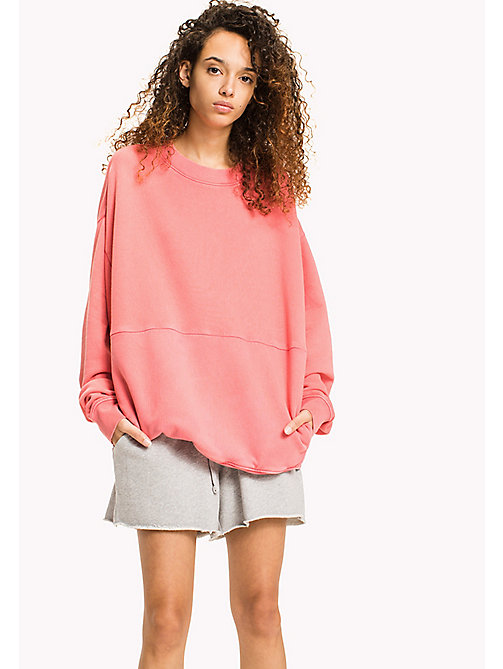TOMMY JEANS Oversized Cotton Sweatshirt - SPICED CORAL - TOMMY JEANS WOMEN - main image