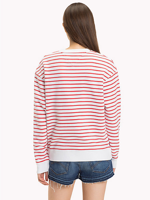 TOMMY JEANS Relaxed Stripe Sweatshirt - BRIGHT WHITE / SPICED CORAL - TOMMY JEANS TOMMY JEANS Capsule - detail image 1