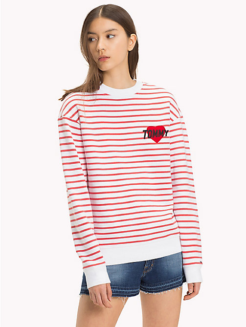 TOMMY JEANS Relaxed Stripe Sweatshirt - BRIGHT WHITE / SPICED CORAL - TOMMY JEANS TOMMY JEANS Capsule - main image