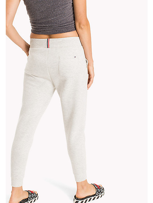 TOMMY JEANS Tapered Cotton Blend Sweatpants - LIGHT GREY HTR - TOMMY JEANS Trousers & Skirts - detail image 1