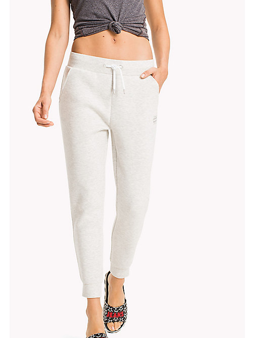 TOMMY JEANS Tapered Cotton Blend Sweatpants - LIGHT GREY HTR - TOMMY JEANS WOMEN - main image