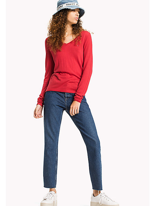 TOMMY JEANS Wool Blend V-Neck Jumper - SKI PATROL - TOMMY JEANS Jumpers & Cardigans - main image