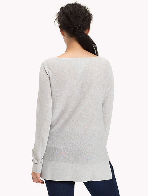 TOMMY JEANS Boat Neck Ribbed Jumper - LIGHT GREY HTR - TOMMY JEANS Jumpers & Cardigans - detail image 1