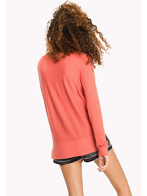 TOMMY JEANS Boat Neck Ribbed Sweatshirt - SPICED CORAL - TOMMY JEANS WOMEN - detail image 1