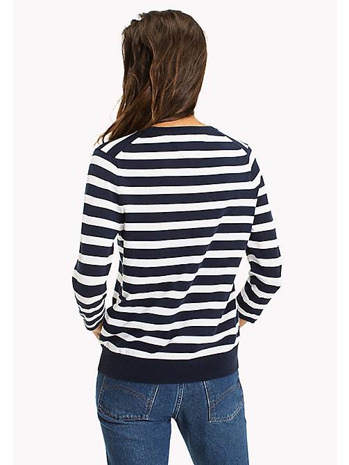 TOMMY JEANS Stripe Badge Jumper - BRIGHT WHITE / BLACK IRIS - TOMMY JEANS WOMEN - detail image 1