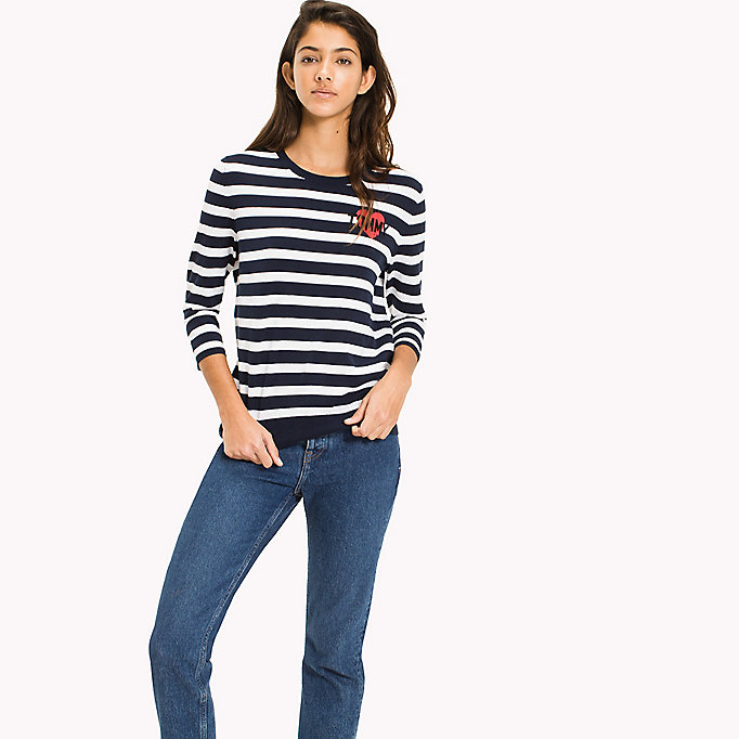 TOMMY JEANS Stripe Badge Jumper - SKI PATROL / BLACK IRIS - TOMMY JEANS Clothing - main image