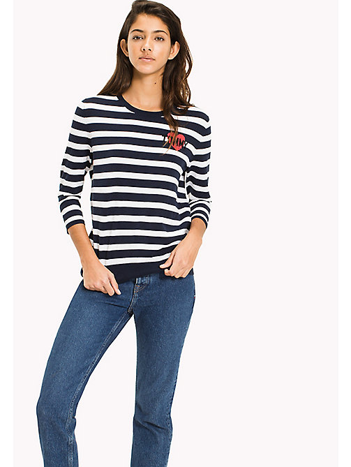 TOMMY JEANS Stripe Badge Jumper - BRIGHT WHITE / BLACK IRIS - TOMMY JEANS MUJERES - imagen principal