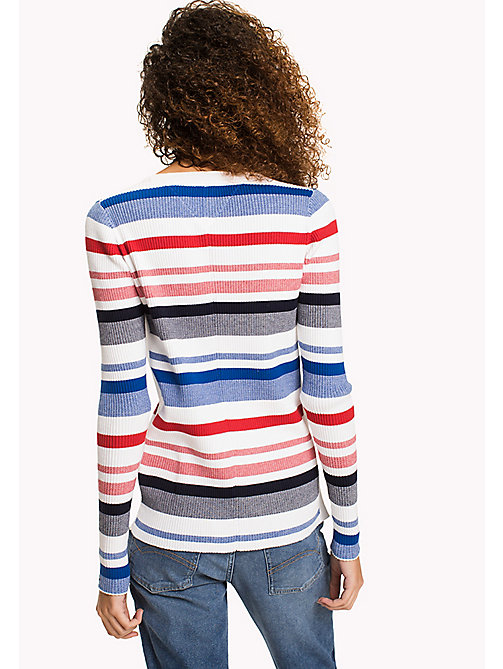 TOMMY JEANS TJW STRIPE RIB SWEATER - BRIGHT WHITE / MULTI - TOMMY JEANS WOMEN - detail image 1