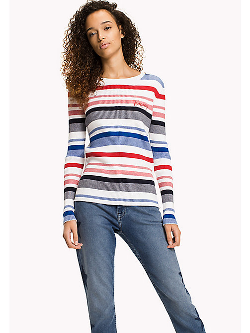 TOMMY JEANS TJW STRIPE RIB SWEATER - BRIGHT WHITE / MULTI - TOMMY JEANS WOMEN - main image