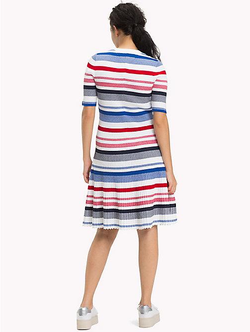 TOMMY JEANS Ribbed Knit Swing Dress - BRIGHT WHITE / MULTI - TOMMY JEANS Clothing - detail image 1
