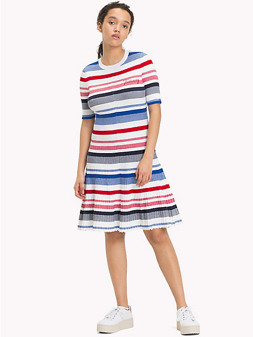 TOMMY JEANS Ribbed Knit Swing Dress - BRIGHT WHITE / MULTI - TOMMY JEANS Clothing - main image