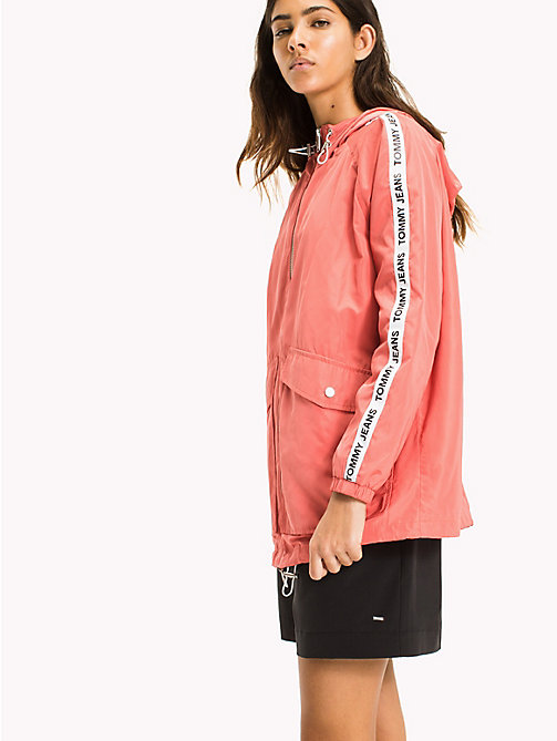 TOMMY JEANS Hooded Windbreaker - SPICED CORAL - TOMMY JEANS Festival Season - main image