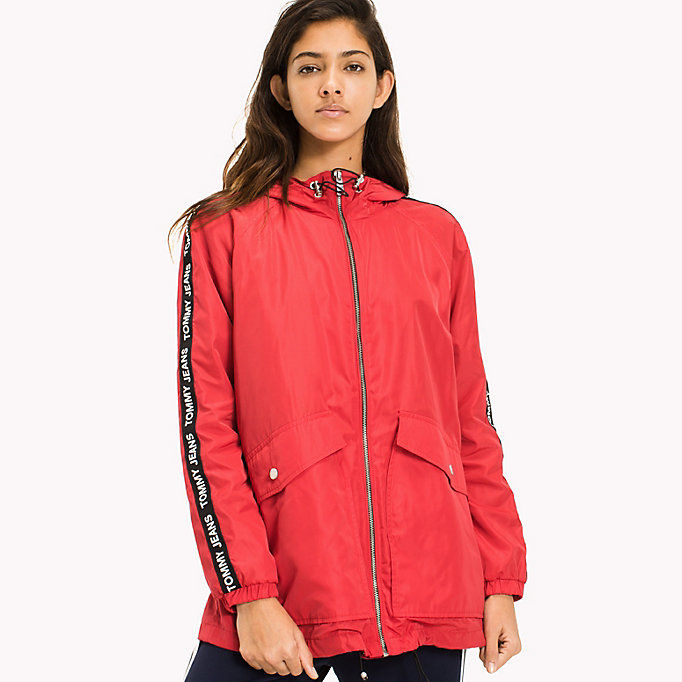 TOMMY JEANS Hooded Windbreaker - SPICED CORAL - TOMMY JEANS Clothing - main image